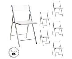 Eurosilla Slim-Pack de 6 Sillas Plegables para salón, Color Blanco, 43 X 45 X 45/77 Cm