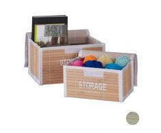 Relaxdays Set de 2 Cajas de almacenaje, Baúl Vintage para Juguetes, con Tapa, Apilable, Marrón, 15x26,5x19 cm, 15 x 26,5 x 19 cm