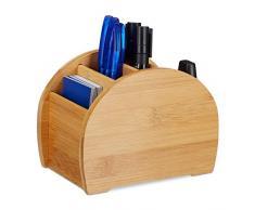 Relaxdays Organizador de Escritorio, Cuatro Compartimentos, Lapicero, Bambú, Marrón, 12 x 16 x 10,50 cm