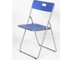 Easy azul Silla plegable metal asiento PP,para cocina, comedor, balcón, terraza interior, habitación juvenil. 1 unidad