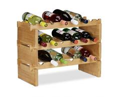 Relaxdays, 3 Niveles Botellero Vino Apilable hasta 36 Botellas, Bambú, Marrón, Madera, Naturaleza