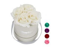 Relaxdays Rosas Artificiales en Caja Gris Redonda, 4 Unidades, Ramo Decorativo, Flower Box, Cartón-Tela-PP, Blanco