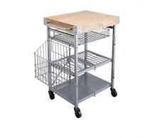 Kitchencraft Industrial plegable cocina de almacenamiento con ruedas de madera bloque de carnicero, 80Â x 51Â x 90Â cm (31.5Â x 20 (67,3Â x 90,1Â cm), de acero al carbono, gris, 83Â x 51Â x 91Â cm