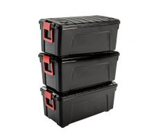Iris Ohyama Store It All - SIA-75, Caja de almacenamiento de bricolaje apilable, plastico, 75L, Negro/Rojo, 78 x 39,5 x 35 cm, Lote de 3