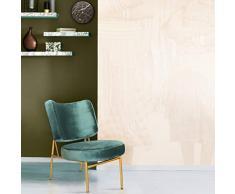 Mc Haus OSHA - Sillón Comedor de color Verde pino, Butaca Salón Tapizado con Reposabrazos, Asiento Acolchado cómodo y patas de metal color Dorado 43,5x63x76 cm