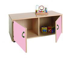 Mobeduc Mueble Infantil Superbajo Armario 2 Casillas, Haya, Haya y Rosa, 90x40x44 cm