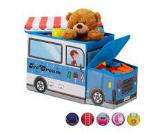 Relaxdays Baúl para Juguetes, Taburete Infantil Plegable, Caja con Compartimento, Unisex, Carrito de Helados, Azul