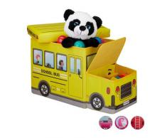 Relaxdays Baúl para juguetes, Taburete infantil plegable, Caja con compartimento, Para niños y niños, Forma de autobús, 50 L, Autobús escolar