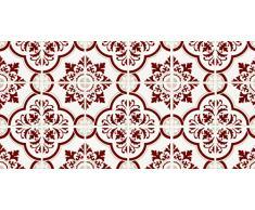 Laroom Alfombra Vinílica de Cocina Diseño Estoril, Vinilo Antiliscante, Rojo, 50x100 cm