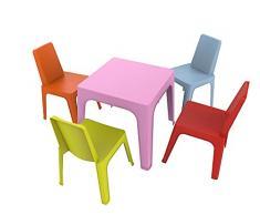 resol Julieta set infantil para interior, exterior, jardín - 1 Mesa Rosa + 4 Sillas Roja/Naranja/Azul/Lima