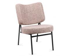 Mc Haus OSHA - Sillón Comedor de color Beige, Butaca Salón Tapizado con Reposabrazos, Asiento Acolchado cómodo y patas de metal color Negro 43,5x63x76 cm
