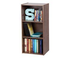 Iris Ohyama Cube Bookcase CX-3 Muebles de Almacenamiento 3 nichos/Estantería 3 repisas de Madera CX-3-Marrón, 41.5 x 29 x 88 cm, MDF, Castaño