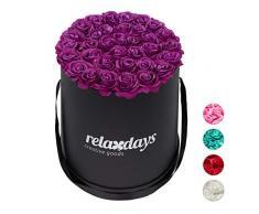 Relaxdays Rosas Artificiales en Caja Negra Redonda, 34 Unidades, Ramo Decorativo, Flower Box, Cartón-Tela-PP, Morado