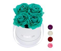 Relaxdays Rosas Artificiales en Caja Blanca Redonda, 4 Unidades, Ramo Decorativo, Flower Box, Cartón-Tela-PP, Turquesa