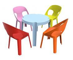 resol Rita set infantil para interior, exterior, jardín - 1 Mesa Azul + 4 Sillas Roja/Rosa/Naranja/Lima