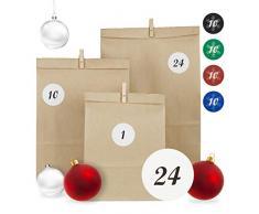 Relaxdays Calendario Adviento DIY con 24 Bolsas Pegatinas Blancas y Pinzas de Madera, Papel, Marrón, 3 Tamaños