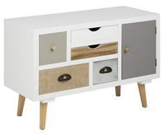 AC Design Furniture Tocador Cajones Multicolores Suwen, Blanco, 81 x 34 x 55 cm