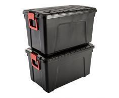 Iris Ohyama, Store It All- SIA-110, Caja de almacenamiento de bricolaje apilable, plastico, plastico, 110L, Negro/Rojo, 75 x 44,5 x 44,5 cm, Lote de 2