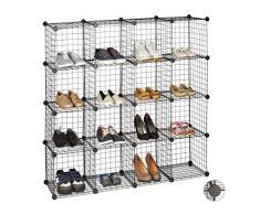 Relaxdays Estantería Modular con 16 Compartimentos, Metal, Negro, 126.5 x 126.5 x 31.5 cm