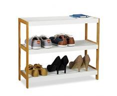 Relaxdays Zapatero con 3 Estantes, Bambú, Blanco/marrón, 58,5 x 70 x 26 cm