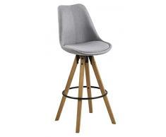 AC Design Furniture Taburete de Bar Nadia , Tela, Gris Claro, 55 x 48.5 x 111.5 cm