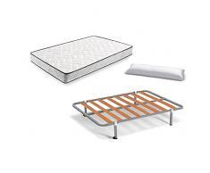 Hogar 24 Colchón Visco-Aloe + Somier Basic + Almohada De Fibra, 90x190 cm