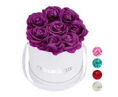 Relaxdays Rosas Artificiales, Caja de Flores Blanca, 8 Unidades, Ramo Decorativo, Flower box, Cartón-Tela-PP, Morado