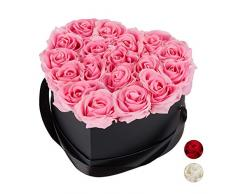 Relaxdays Rosas Artificiales, Caja de Flores Negra, 18 Unidades, Ramo Decorativo, Flower Box, Cartón-Tela-PP, Rosa