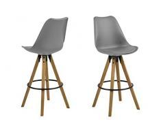 AC Design Furniture Taburete de Bar Nadia, Asiento 100% Poliuretano, Gris, 55 x 48.5 x 111.5 cm