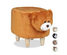 Relaxdays Taburete Infantil Acolchado con Forma Animal de Oso, Madera, Marrón, 35 cm, 35 X 32 cm