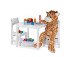 Relaxdays Mobiliario Infantil, Dos sillas y una Mesa, Dos cestas de almacenaje, Muebles para niños, MDF Madera, Blanco