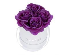 Relaxdays Rosas Artificiales en Caja Blanca Redonda, 4 Unidades, Ramo Decorativo, Flower Box, Cartón-Tela-PP, Morado
