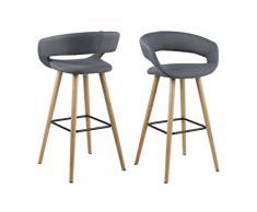 AC Design Furniture 64428 2 Taburetes de Bar, Gris, 2 Unidades