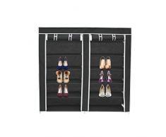 Todeco - Guardarropa, Armario - Material: Tubos de acero inoxidable - Tipo de cierre: Partes de velcro y cremallera - 2 puertas, Armario de zapatos, 114 x 110 x 28 cm, Negro