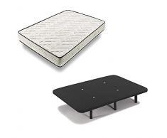 HOGAR24 ES Cama Completa - Colchón Flexitex + Base Tapizada 3D Color Negro + 6 Patas de 32cm, 135x190 cm