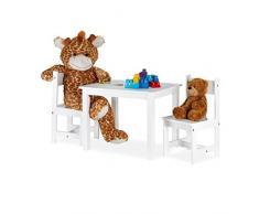 Relaxdays Mobiliario, Mesa & 2 Sillas, Moderno, Habitación Infantil, Interior, MDF, 1 Set, Blanco