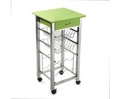 Versa 15810426 Carro de Cocina y botellero Verde de Metal con cajón, 82x40x40cm, 4 Ruedas, Cestas, 82 x 40 x 40 cm