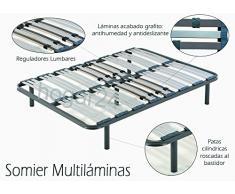 HOGAR24 Somier multiláminas con reguladores lumbares-140x190cm-PATAS 26CM (5 Patas Incluidas)