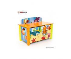 Homestyle4u de los niños Juguete Caja de Almacenamiento con diseño de mar, Madera, Multicolor, 30 x 30 x 30 cm