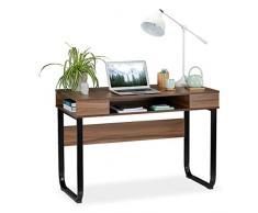 Relaxdays Escritorio Moderno, Tres Compartimentos Abiertos, Mueble de Oficina, 74,5 x 110 x 55 cm, Marrón y Negro, Aglomerado, Metal