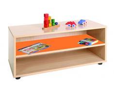 Mobeduc Mueble Infantil Superbajo estantería, Haya, Haya y Naranja, 90x40x44 cm