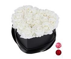 Relaxdays Rosas Artificiales, Caja de Flores Negra, 18 Unidades, Ramo Decorativo, Flower Box, Cartón-Tela-PP, Blanco