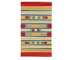Jute & Co. Kilim - Alfombra tapete (algodón, Tejido a Mano, 55 x 90 cm), Multicolor