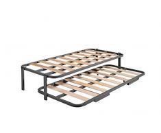 HOGAR 24 Cama Nido con 2 somieres Estructura Reforzada Doble Barra Superior + Patas, Acero, 105x180 cm