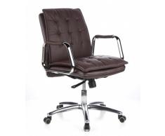 hjh OFFICE 600934 silla ejecutiva VILLA 10 cuero napa marrón oscuro silla de oficina alta gama