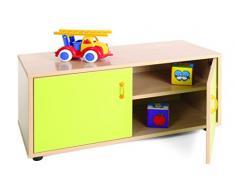 Mobeduc 600102HPS13 - Mueble Infantil superbajo/Armario con 2 estantes, Madera, Color Haya y Verde Manzana, 90 x 40 x 44 cm