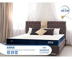 Imperial Confort Elite Anna Colchón muelles ensacados y Viscoelástica de 28 cm de Grosor, 7 Zonas de Confort, 160 x 190 cm, King