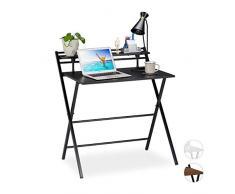 Relaxdays Escritorio Plegable, Mesa de PC, con Estante, Home Office, Juvenil, 92x84x60 cm, Negro, Aglomerado, Hierro, 92 x 84 x 60 cm