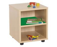 Mobeduc Mueble Infantil Superbajo estantería 360, Haya, Haya y Verde Oscuro, 36x40x44 cm