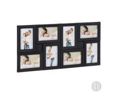 Relaxdays, 30 x 65 cm, Negro Marco múltiple, para Ocho Fotos, Horizontal o Vertical, Pared, Plástico